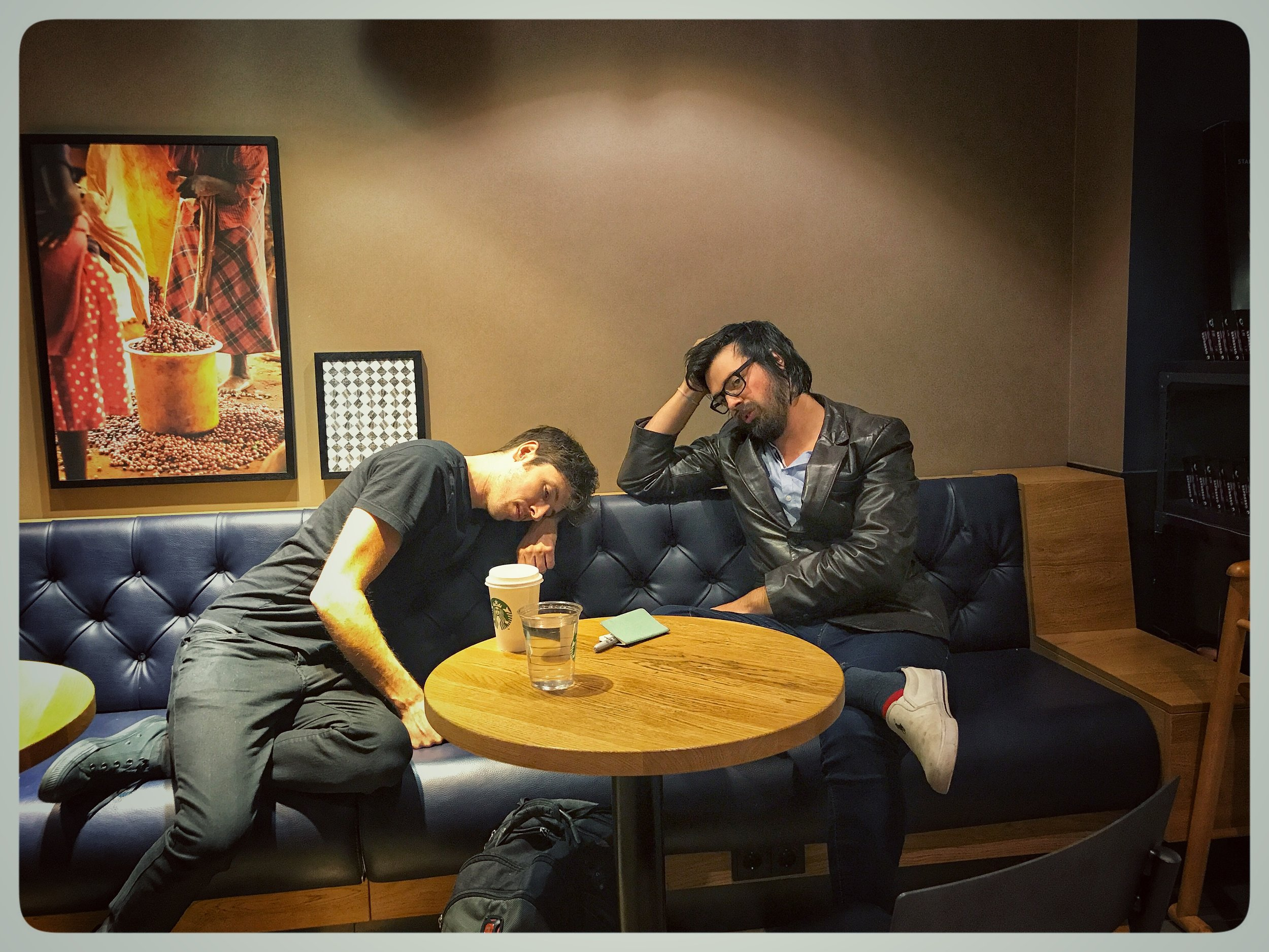 Sleep where you can. Starbucks in Essen, Germany.