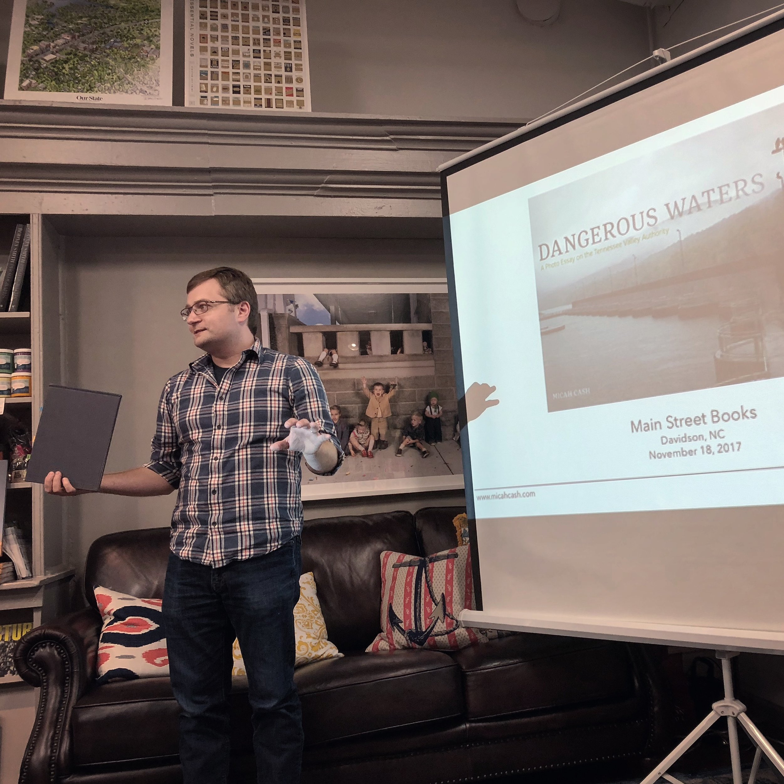 Discussing Dangerous Waters at Main Street Books (Davidson, NC) on November 18, 2017.