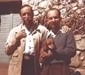 Gerald Heard and Jay Michael Barrie, Laguna Beach, California, June 1945. - Undetermined photographer (probably Christopher Wood).