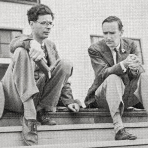 With Aldous Huxley at North Carolina's Black Mountain College, 1937. - Courtesy Laura A. Huxley.