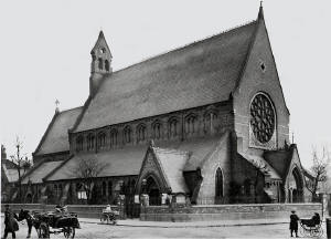 Christ Church, Rendlesham Road, London, where Rev. Henry James Heard served as curate at the time of Gerald Heard's birth. - Photo c. 1905. Reproduced by kind permission of English Heritage (Copyright) National Monuments Record.