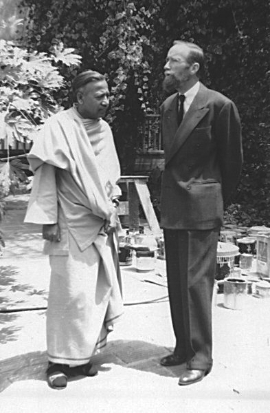 With Swami Prabhavananda at the Vedanta Society of Southern California, July 4, 1948. - Used by kind permission of the Vedanta Societyof Southern California.