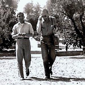 With Swami Aseshananda at Trabuco, c. 1952. -