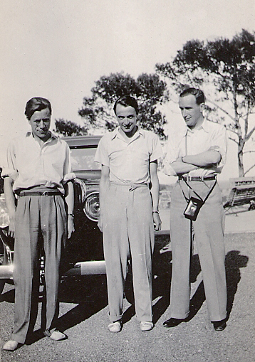 Christopher Wood, unidentified man, and Gerald Heard, c. 1932. - (unknown photographer)