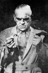 Boris Karloff as Mr. Mycroft, inspecting one of those pesky bees.