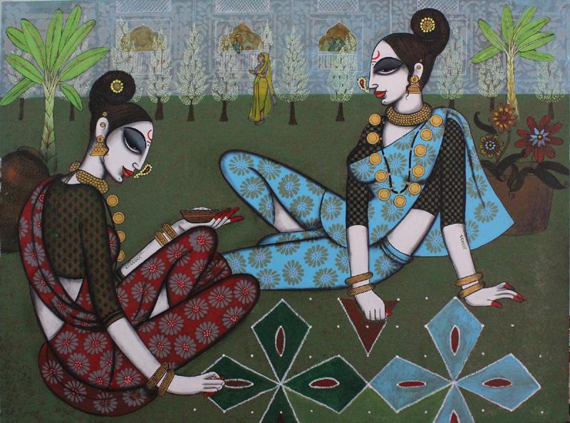 Two Friends Make Rangoli