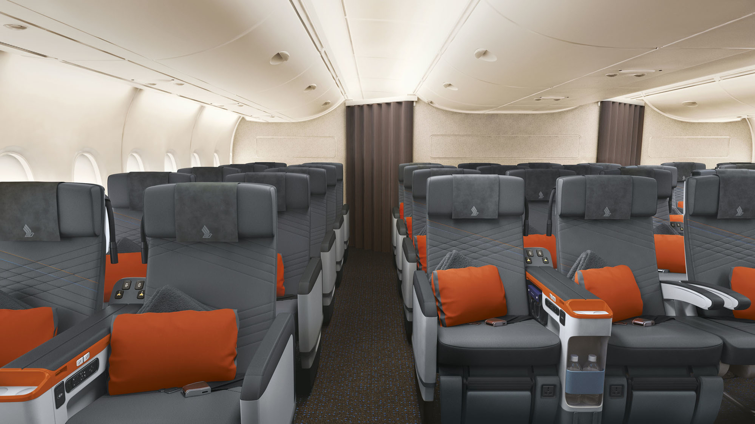 Premium Economy has a 2-4-2 layout, with a 19.5 inch wide seat plus an arm rest.