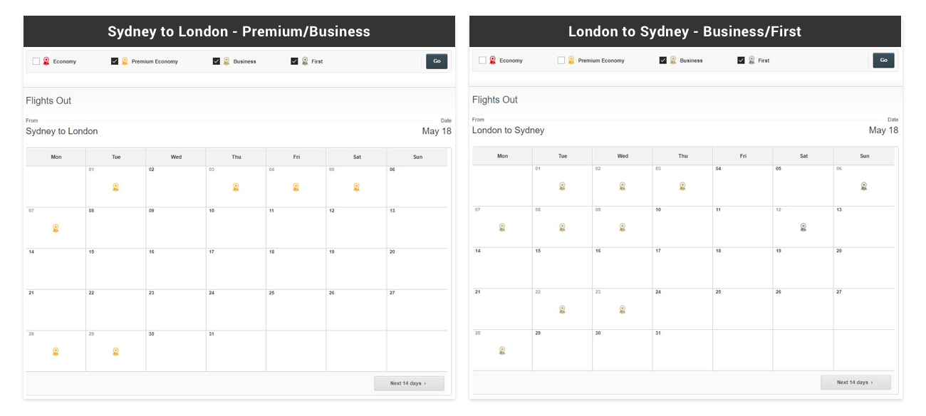 As you can see, Qantas is really quiet, even settling for Premium Economy.