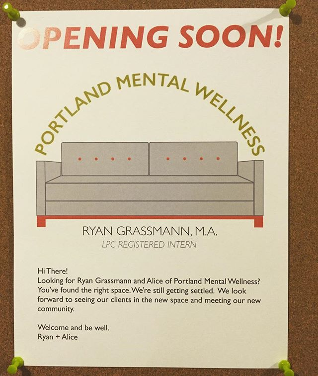 Still waiting on our official signage but this temporary cork board sign outside our office will do for now. Putting some final touches on the space before we start seeing clients here tomorrow. #portland #pdx #portlandoregon #mentalhealth #portlandmentawellness #therapy #counseling #psychology #wellness