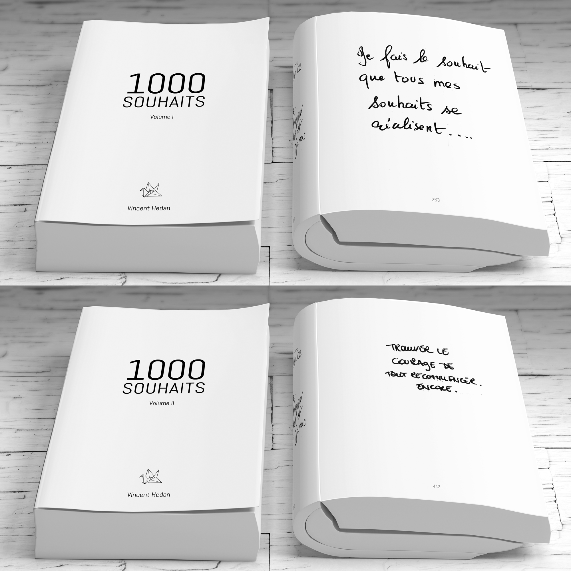 1000 Souhaits - Volumes 1 et 2Dans son spectacle « Le Souhait », Vincent Hedan a récolté des milliers de souhaits anonymes. Les spectateurs entrent dans la salle et sont invités à répondre en quelques mots à une question simple sur un papier : Quel est votre souhait ?Chaque volume réunit 1000 souhaits différents. Des souhaits altruistes et d'autres un peu moins, des amours qui vont bien et d'autres qui vont mal, des histoires, des messages de sagesse, des souhaits qui veulent tout avoir et d'autres qui se contentent de peu. Les spectateurs se sont confiés avec une sincérité et une générosité déconcertante. Leur anonymat est conservé ici et nous permet de nous identifier à leurs rêves et à leurs craintes. Votre souhait se trouve peut-être déjà parmi ces pages. À vous de les découvrir en parcourant cette collection.Chaque livre contient 720 pages, au format 14x21,5cm, en couverture souple. Frais d'envoi offerts.volume 1 : 19€volume 2 : 19€