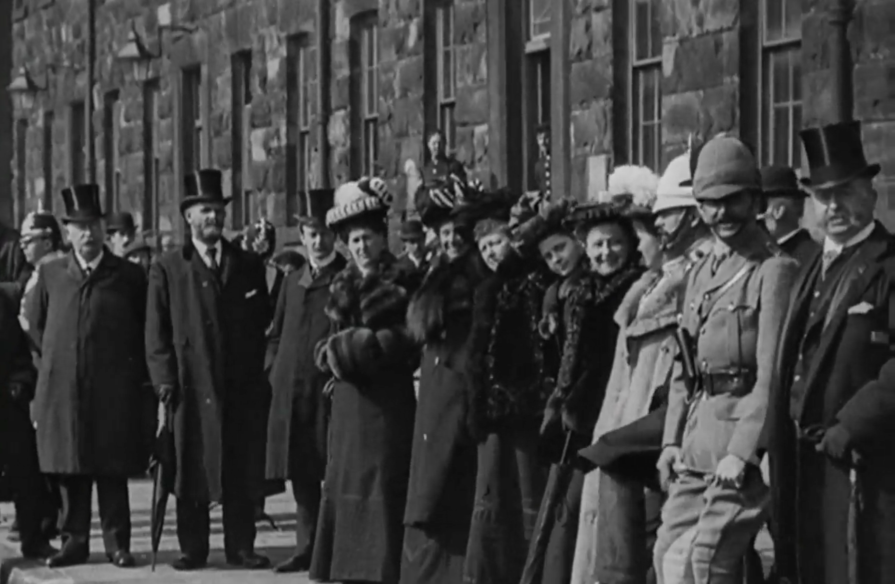 The return of the East Lancs Regiment at the end of the war, 1902; British Film Institute [CLICK ON IMAGE TO PLAY]