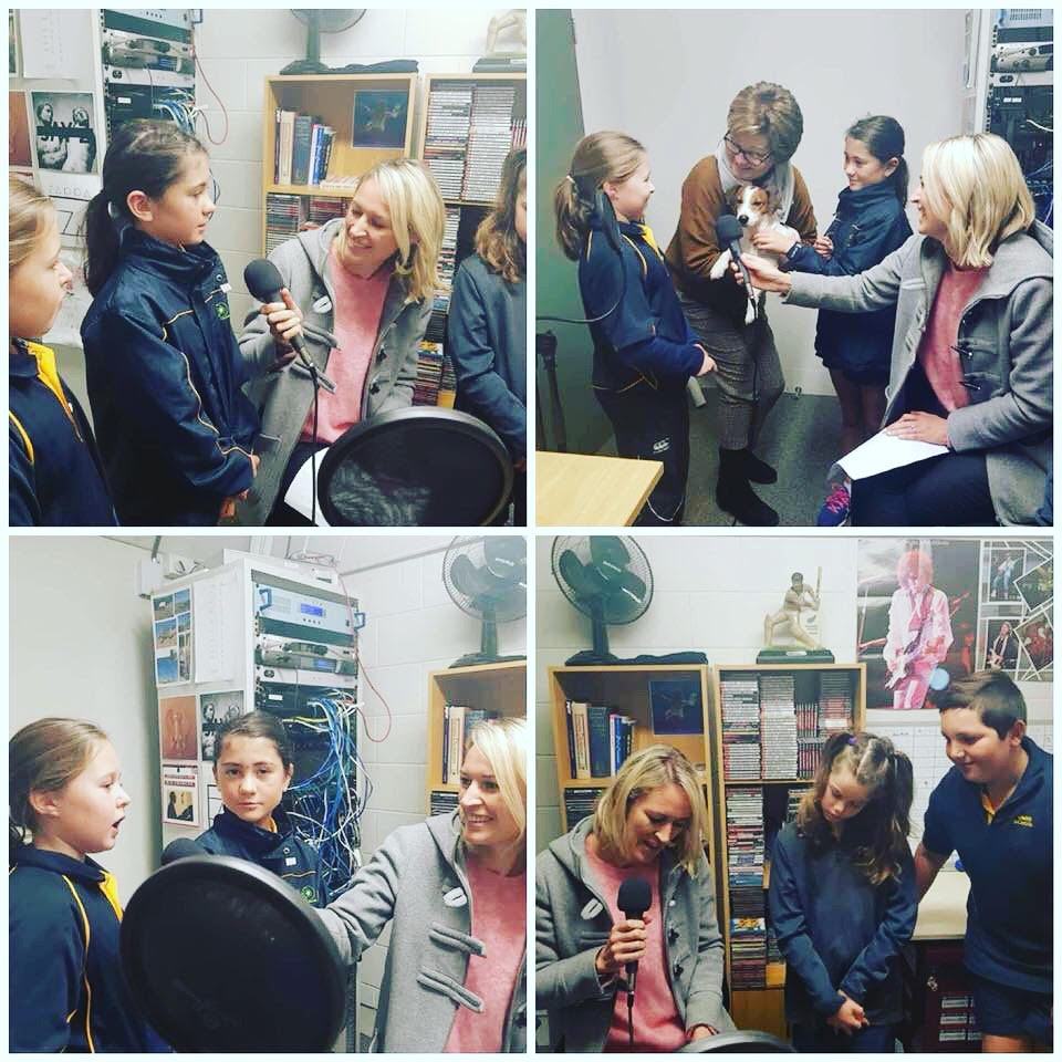 The Year 6 students and Vuk visiting Compass FM.