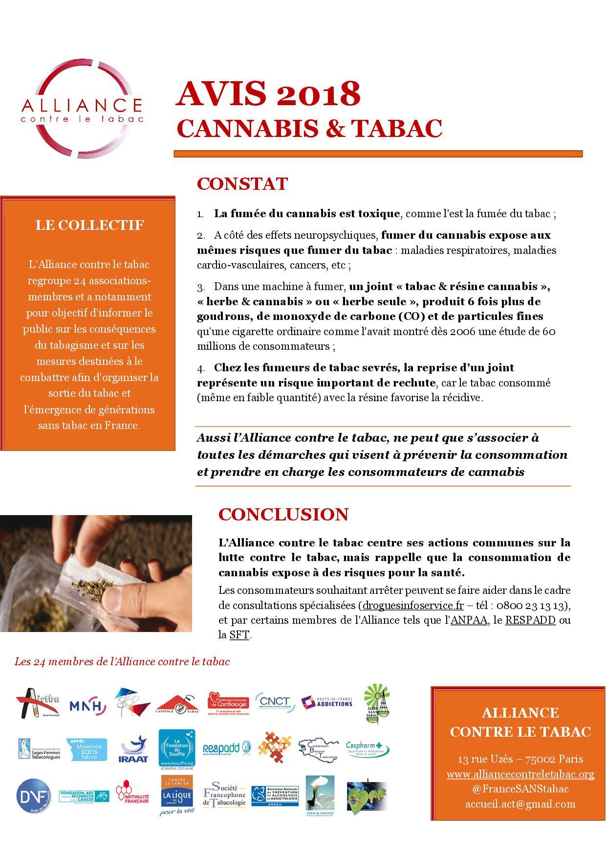Avis 2018 - Cannabis & tabac
