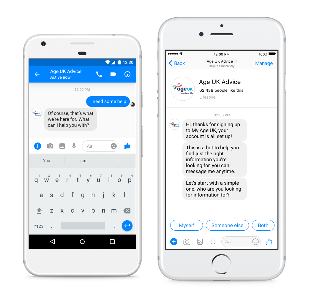 Building a chatbot for the older generation - Helping users self-serve, and aiming to scale their basic help and advice service by 300% to 24/7.