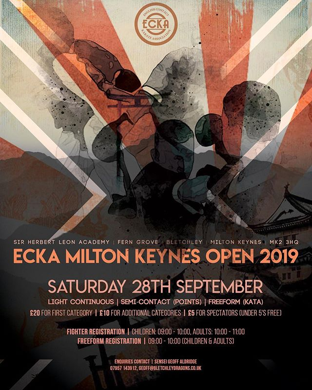 Fantastic new poster for the 2019 ECKA Milton Keynes Open!  Great work as always by Alistair Challans at https://www.picnmixmarketing.com #ecka #miltonkeynes #kickboxing #karate #kickboxingevent #competition @travelnacho