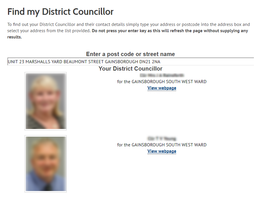 Find my district councillor - cluster example
