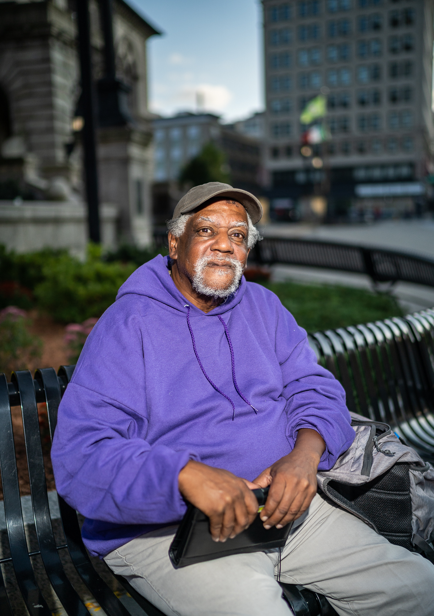 Keith, Outside City Hall, Main Street, October, 2018.