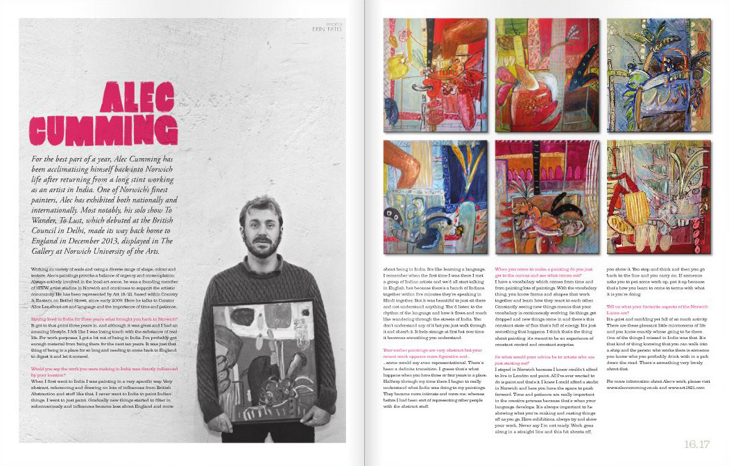 New issue of the    Norwich Lanes  paper is out now. You can browse through the online version by clicking    here  or pick up a physical copy in various Lanes haunts. Highlighted here is an interview with one of Norwich's most successful artistic exports   Alec Cumming   , enjoy!