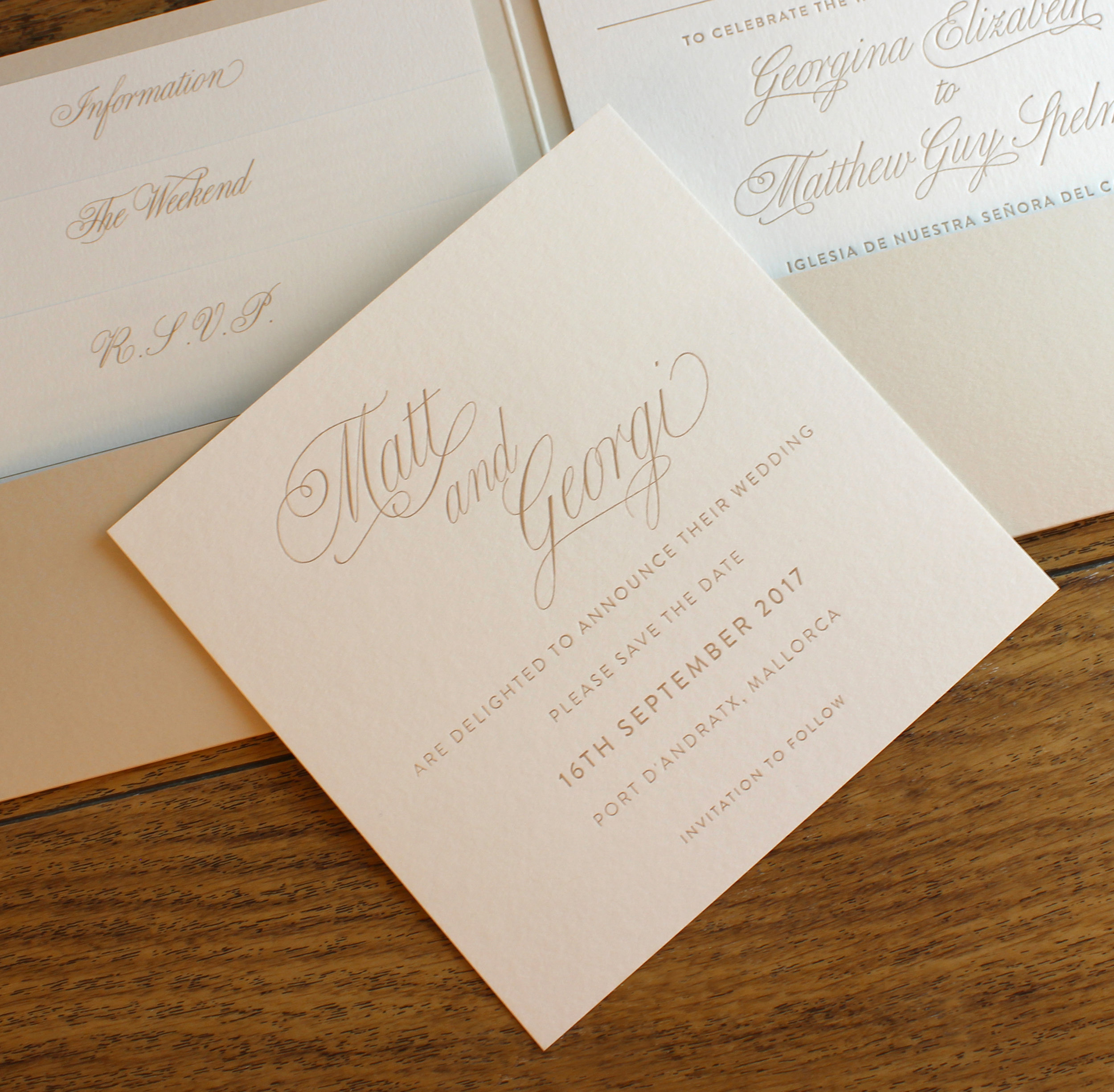 Matt and Georgi letterpress wedding invite and stationery