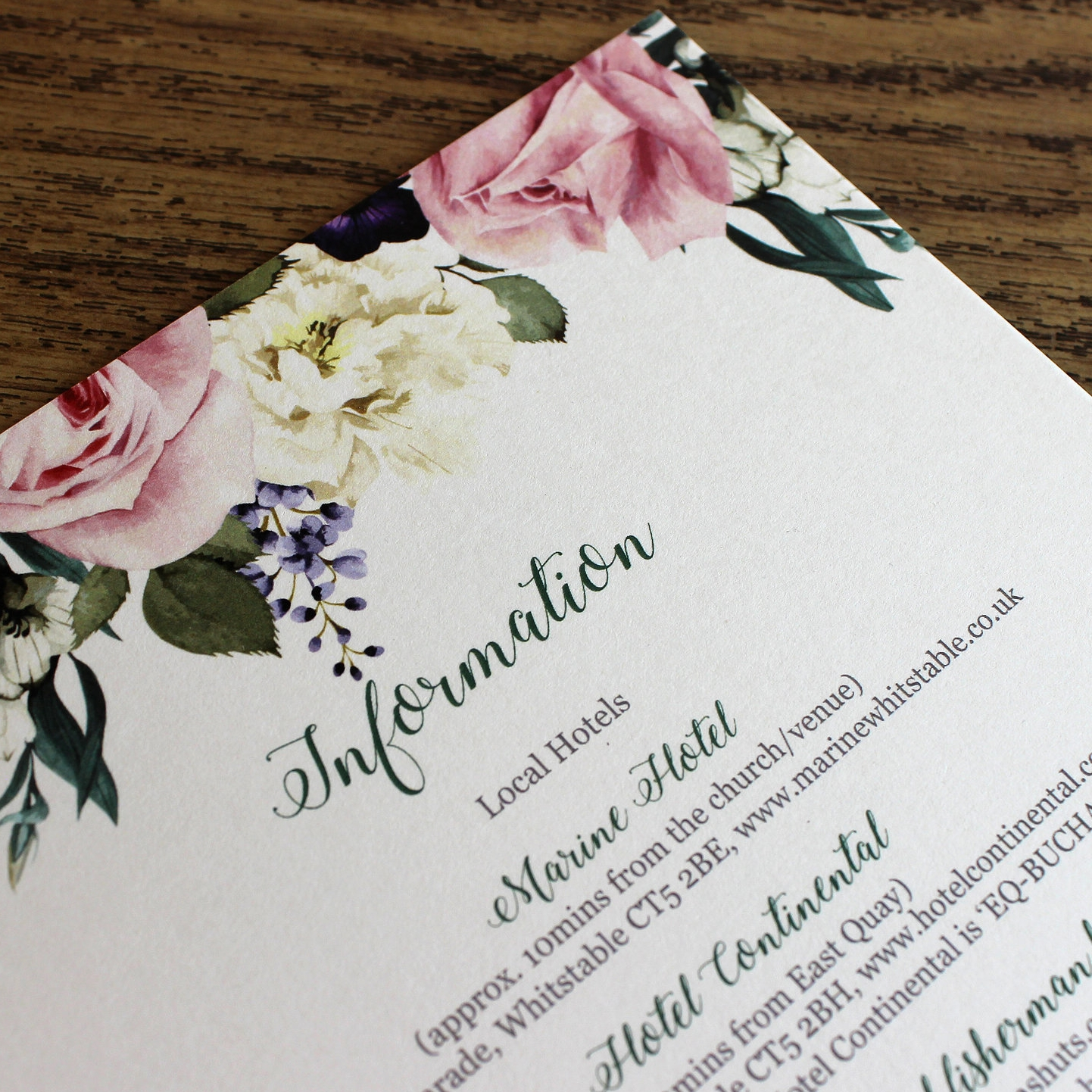 Digitally printed Wedding invites with floral header
