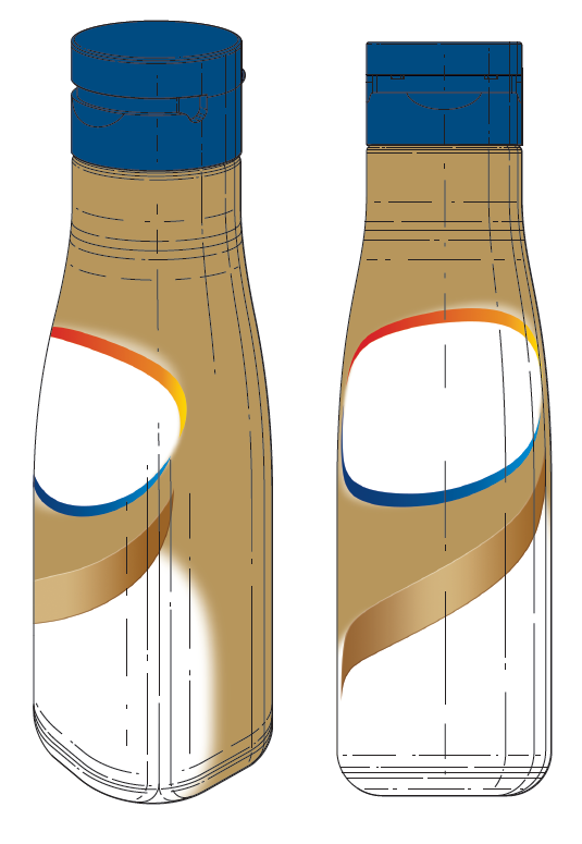 Coloured bottle image design with detail lines