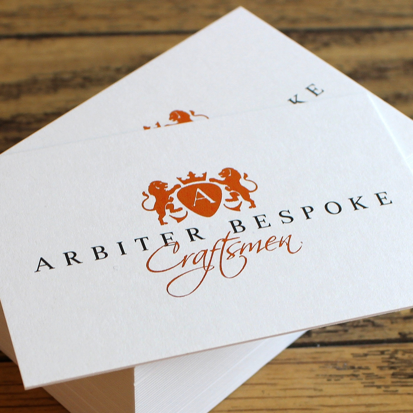 Arbiter Bespoke bronze foiled business card lithoprinted