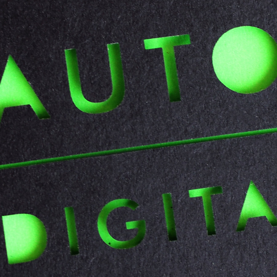Auto Digital laser cut lettering with neon green backing book cover