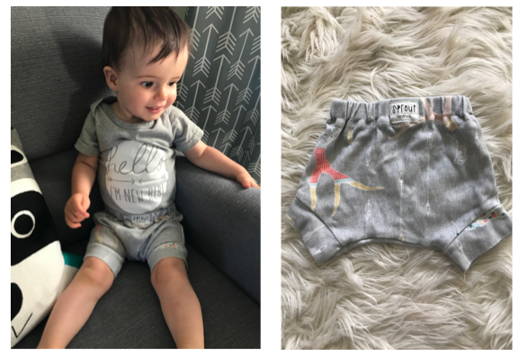 Robbie wearing shorties from @Sprout Handmade