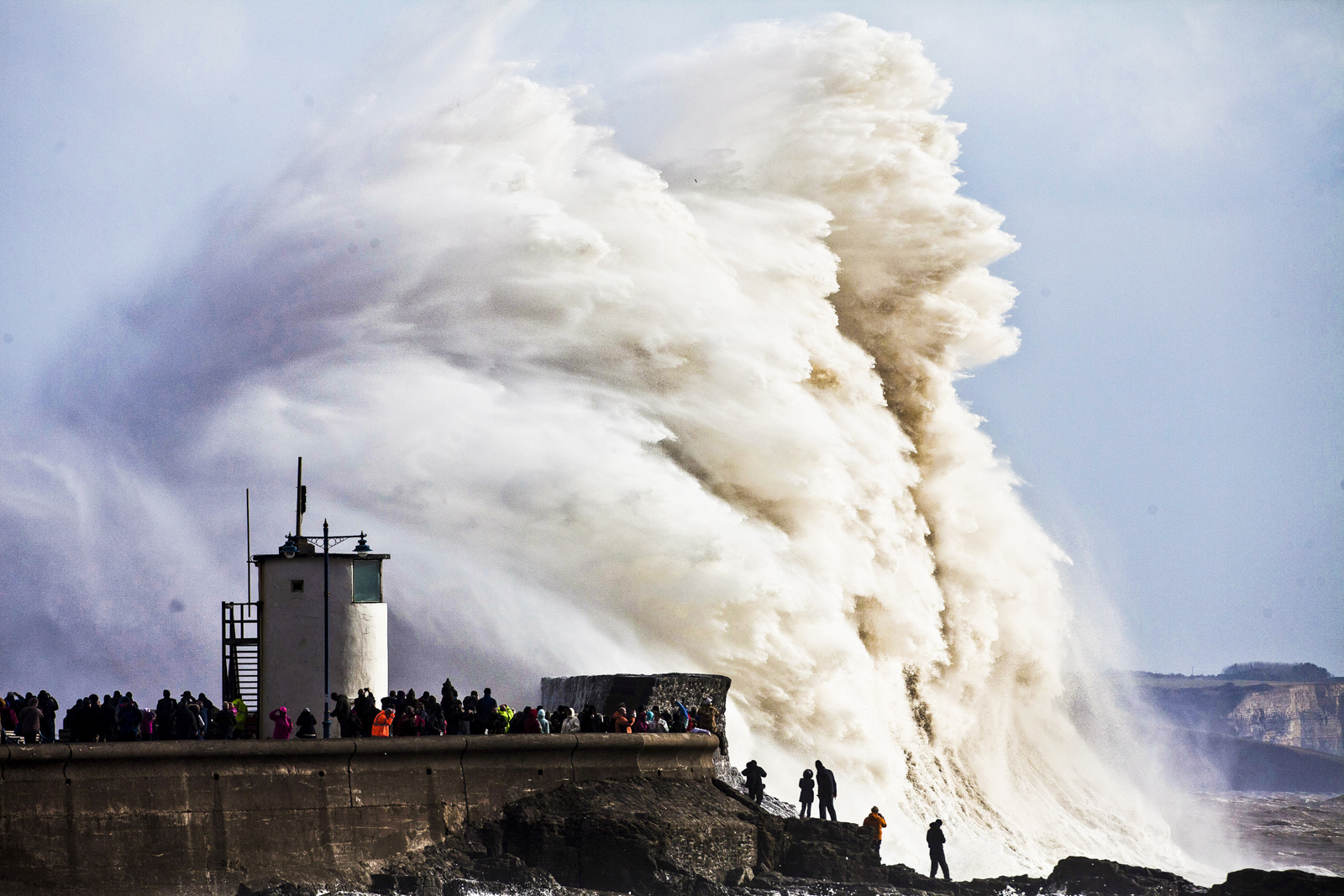 Gigantic waves hit the sea wall at Porthcawl in South Wales