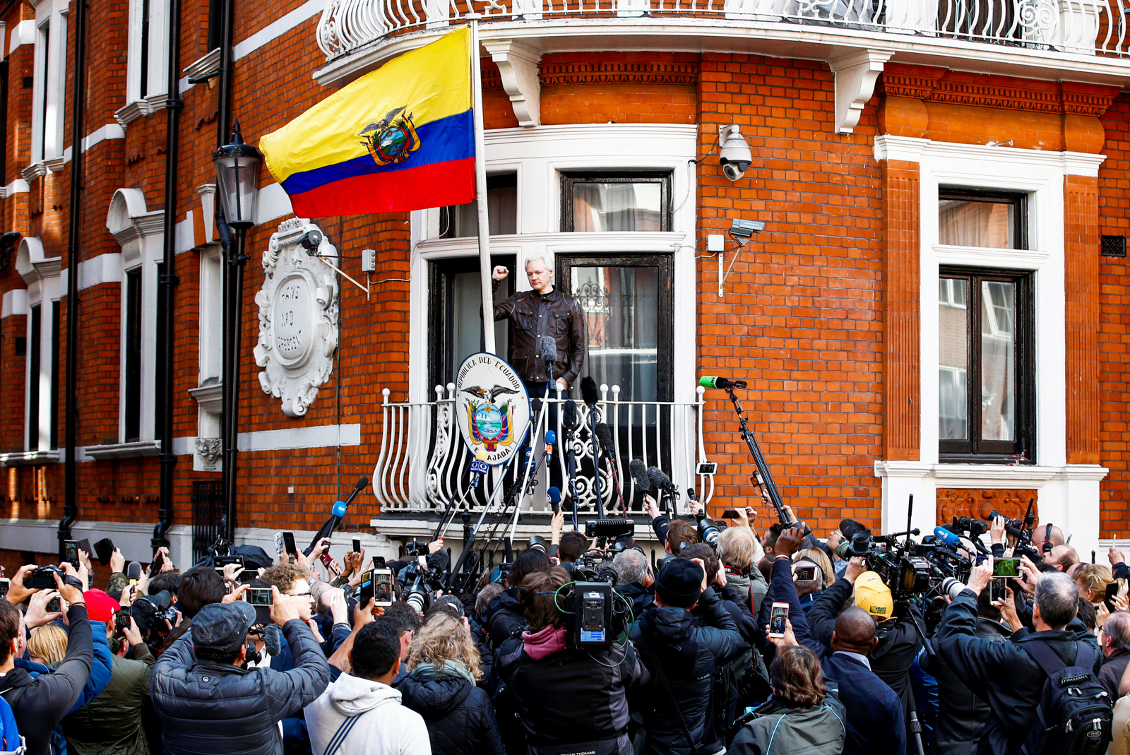 Julian Assange speaks to media outside the Ecuadorian embassy.