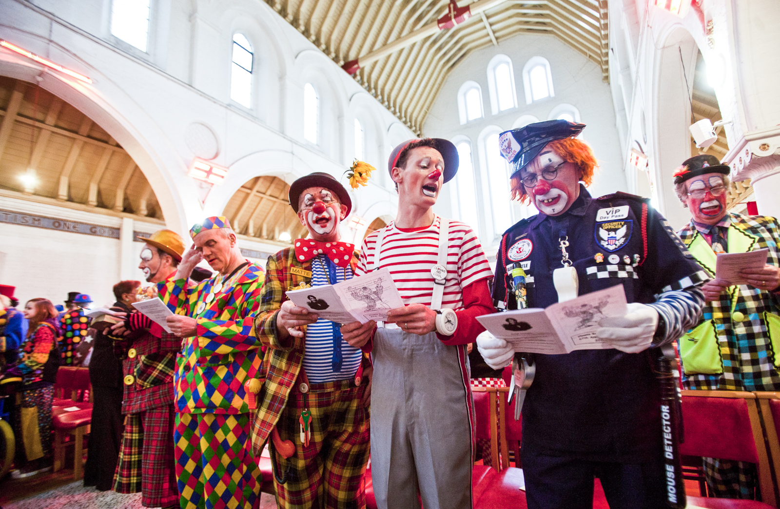 Clowns attend a church service in memory of Joseph Grimaldi, at the Holy Trinity Church in Dalston, east London.