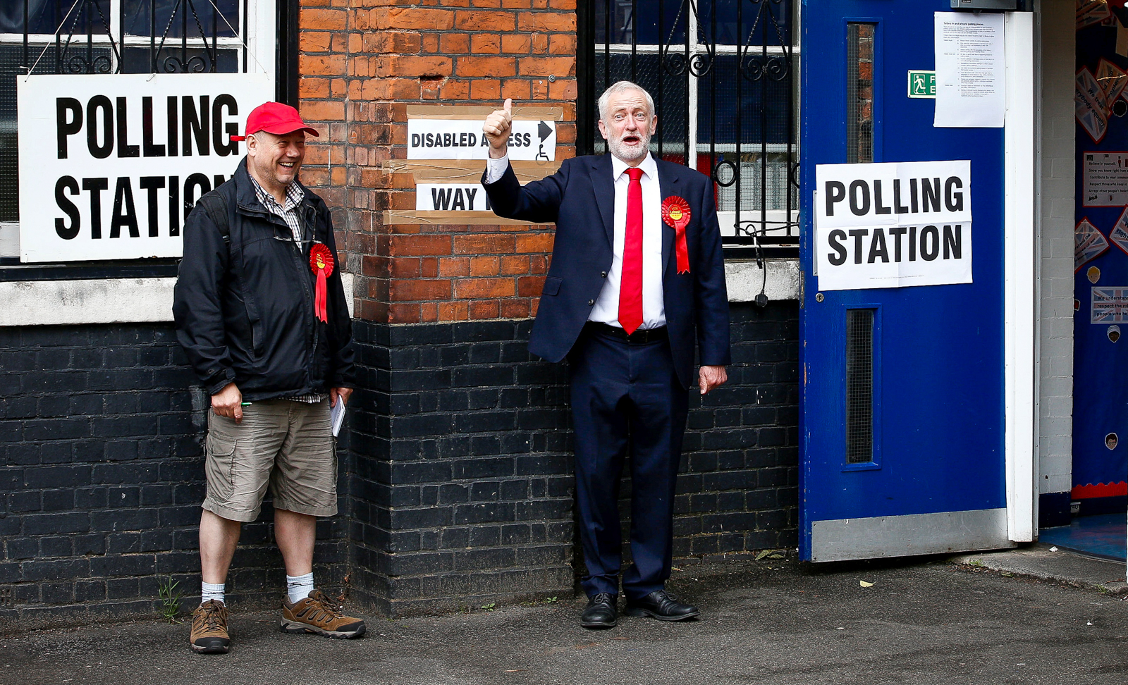Jeremy Corbyn casts his vote at Pakeman School, Holloway, London, June 8 2017