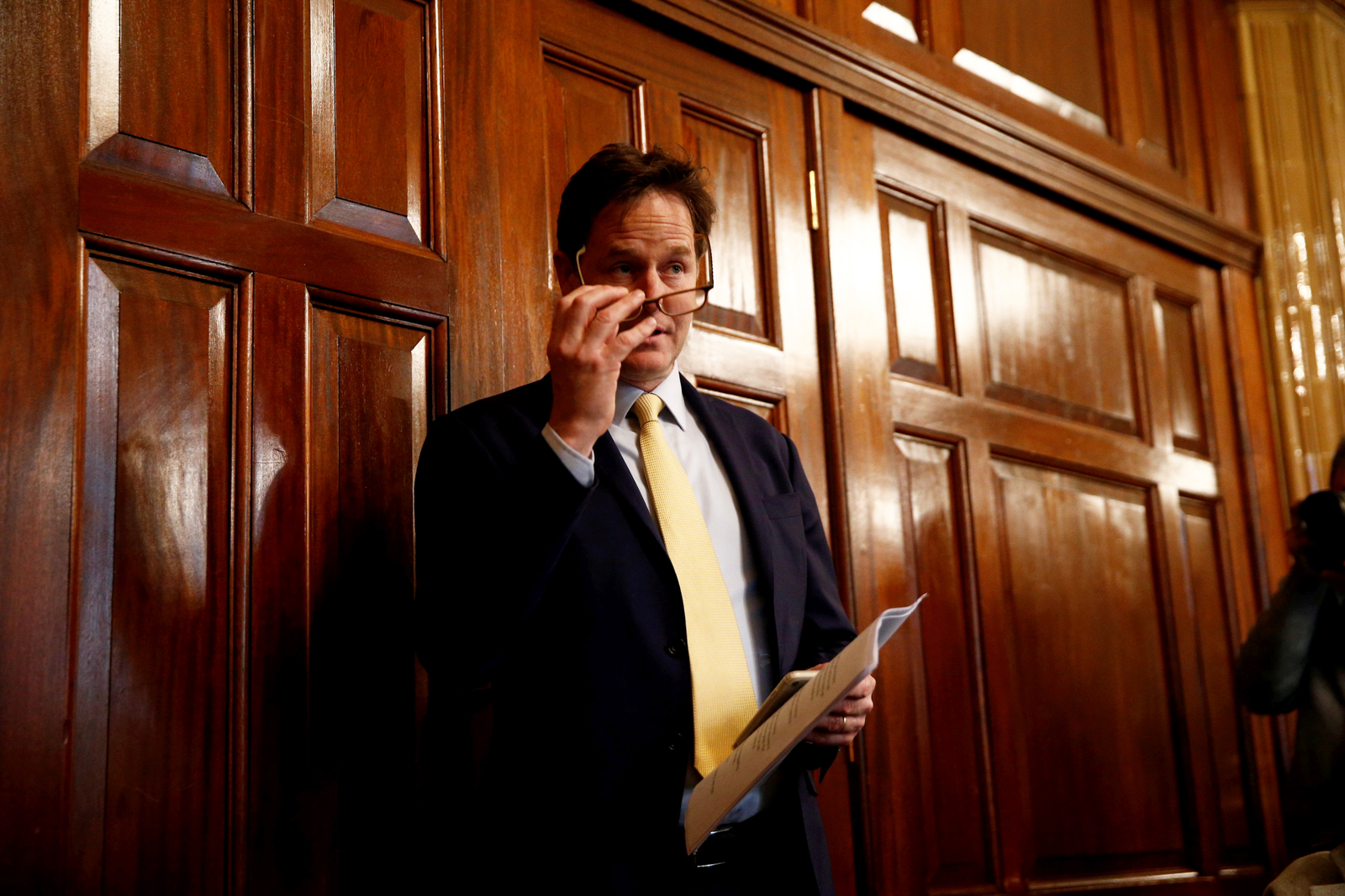 Nick Clegg before his campaign speech on the EU at the National Liberal Club, London.