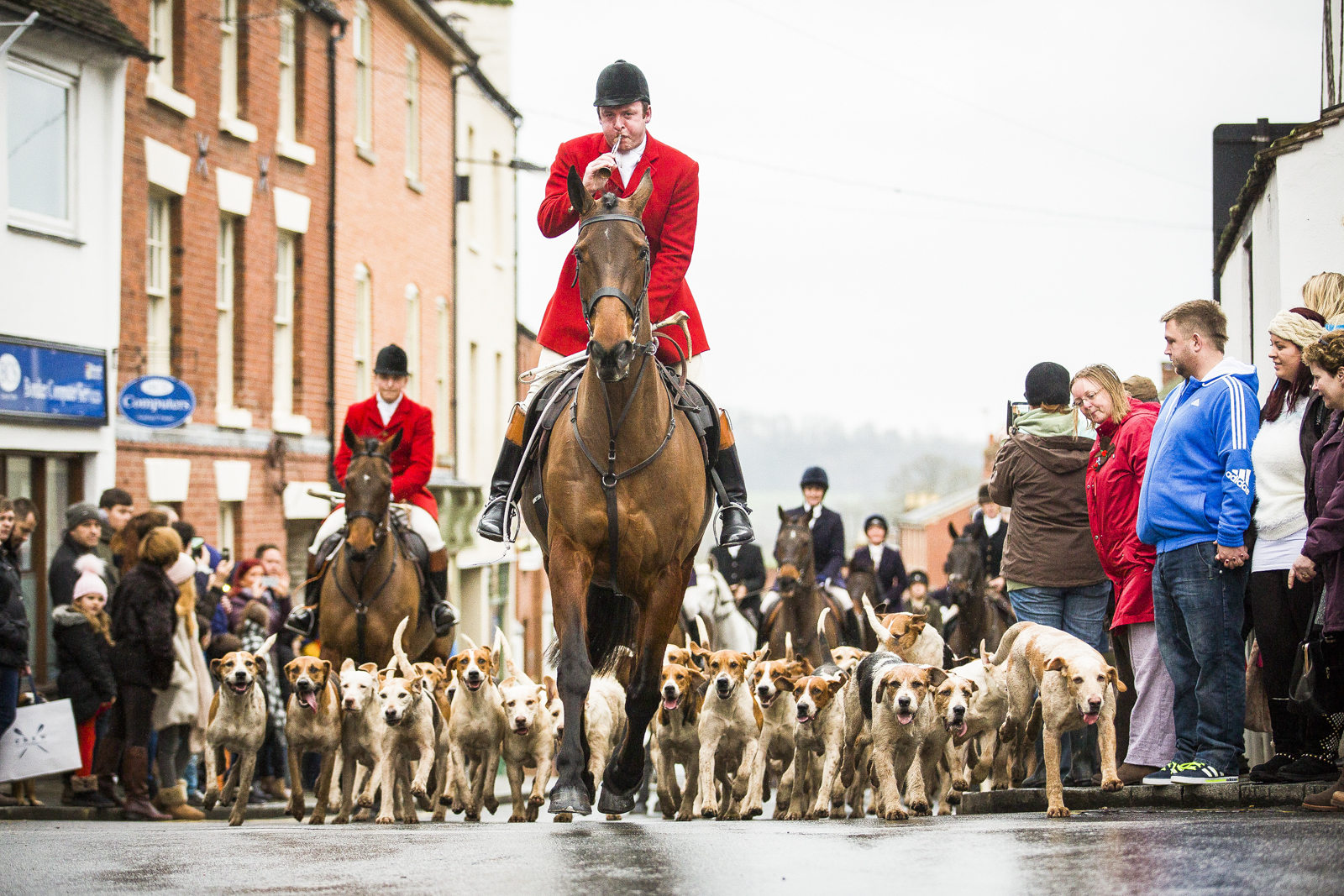 Members of the Ludlow Hunt embark on the Boxing Day Hunt through the centre of Ludlow, Shropshire.
