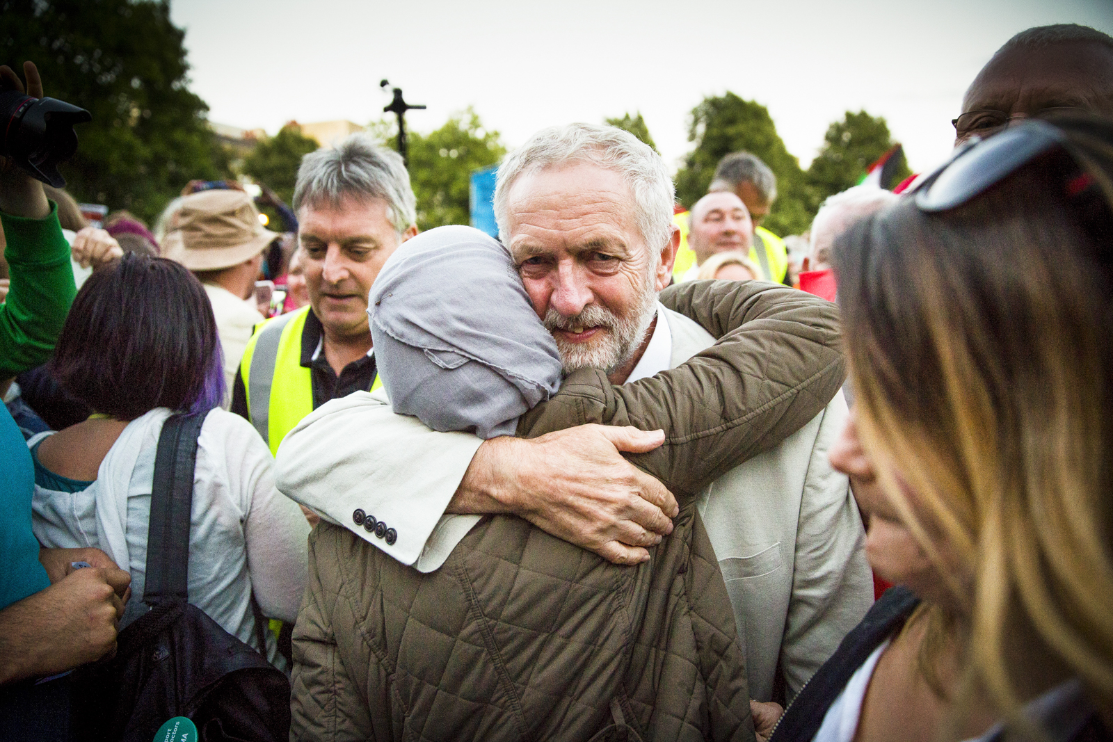 Jeremy Corbyn leaves a leadership rally in Bristol after giving a speech.
