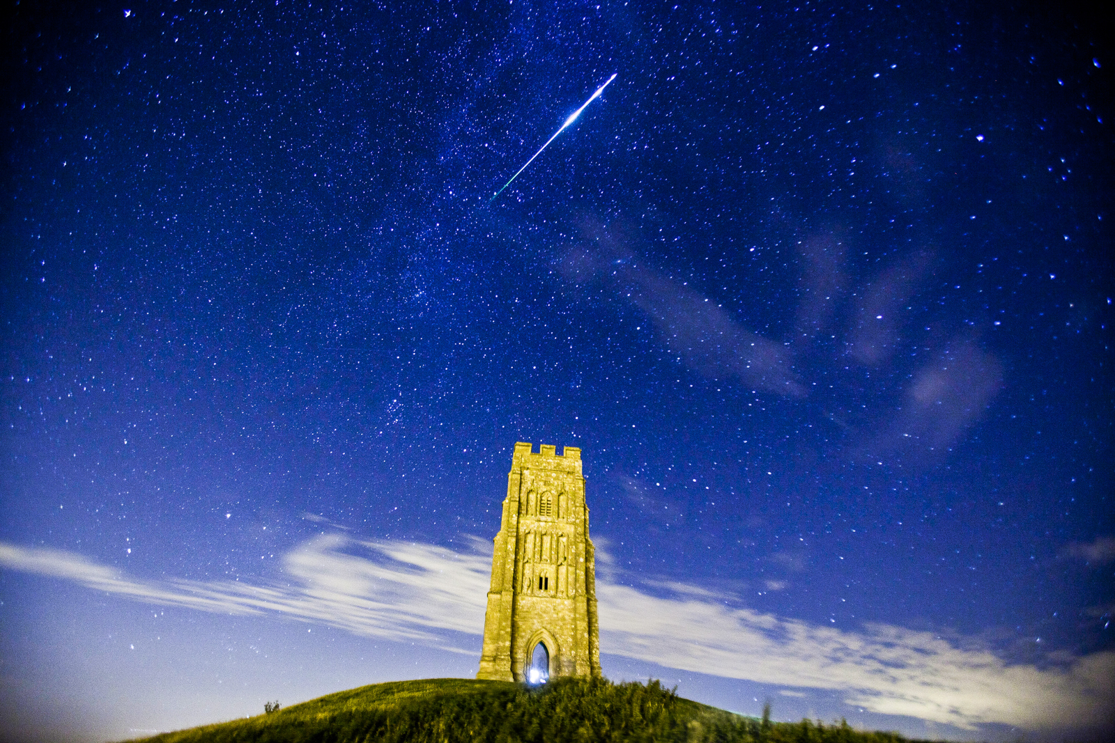 Perseid Meteor over Glastonbury Tor