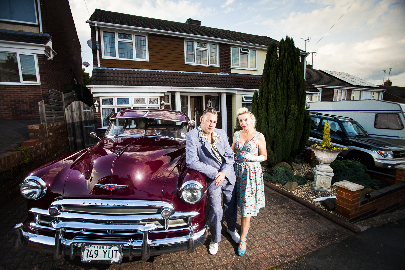 Mandy and Gary Jones, from Tamworth in Staffordshire.  Avid fans of the 1950's  lifestyle, Mandy and Gary  transformed their kitchen into a 50's style diner, complete with original 1950's memorabilia, and even have a classic 1949 Chevrolet parked in their driveway.