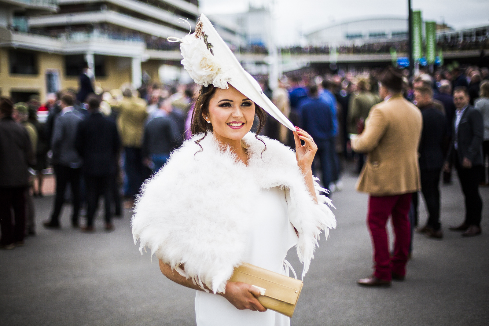 Jennifer Wrynne, 27, at Cheltenham Festival in Cheltenham, Gloucestershire