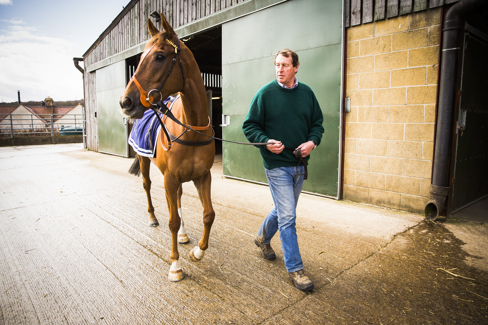 Horse trainer Kim Bailey at his stables in Andoversford, Gloucestershire, with his racehorse Last Samurai