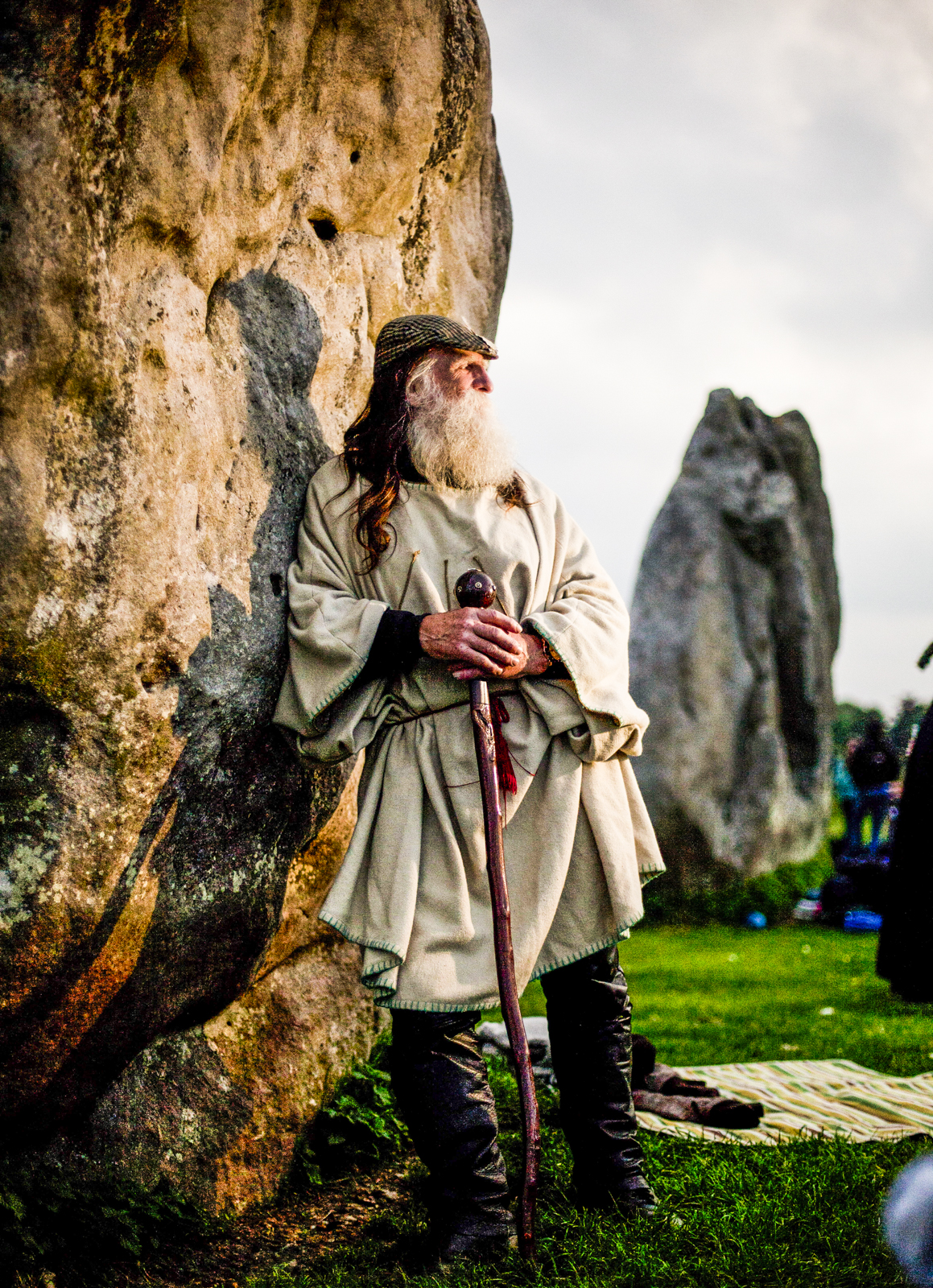 Keeper of the Stones and Archdruid of Avebury Terry Dobney at the Avebury Stone Circle on the evening before the Summer Solstice