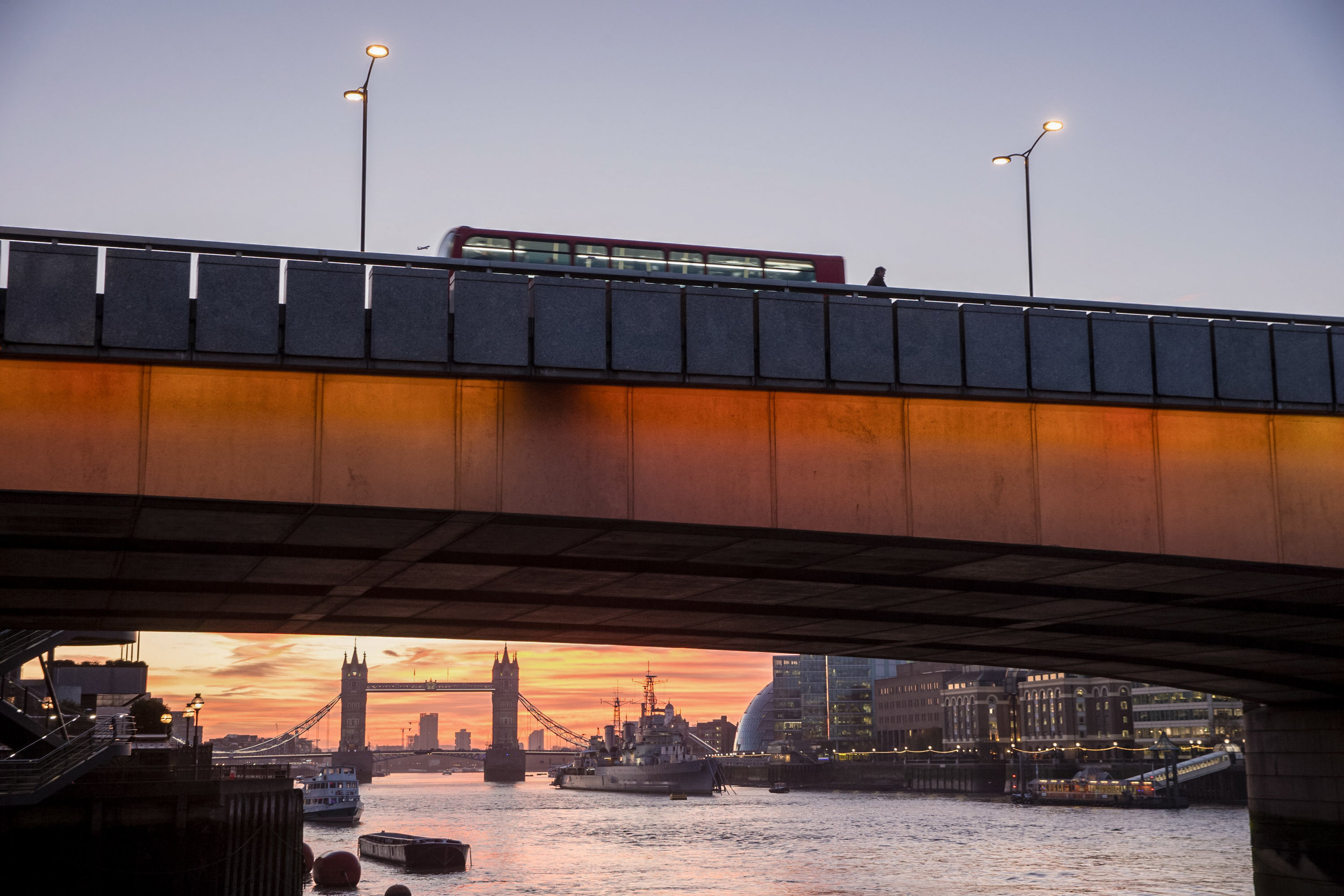 Sunrise behind Tower Bridge in London