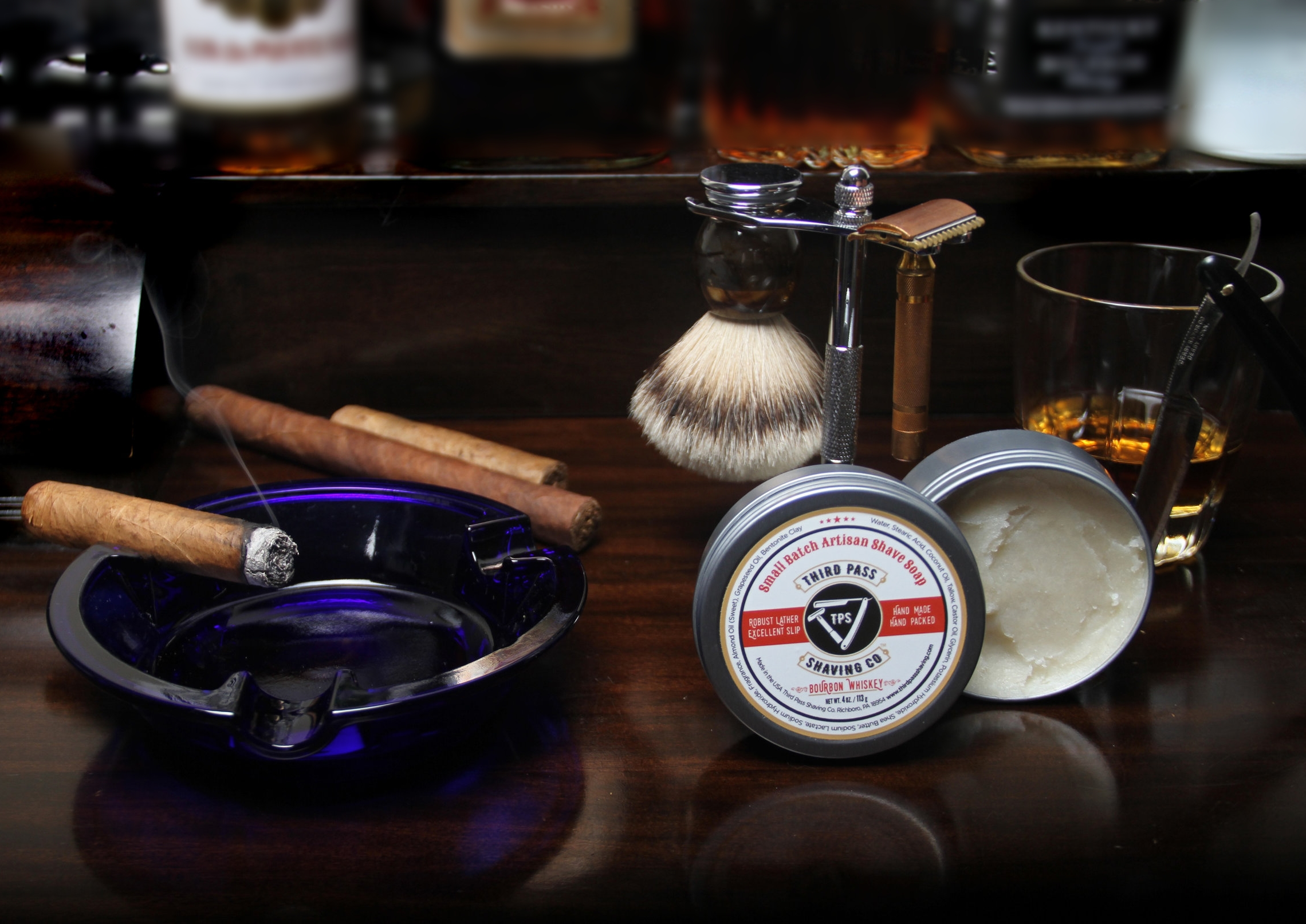 Bourbon Whiskey Shave Soap ~ Bourbon Whiskey straight... shave that is.