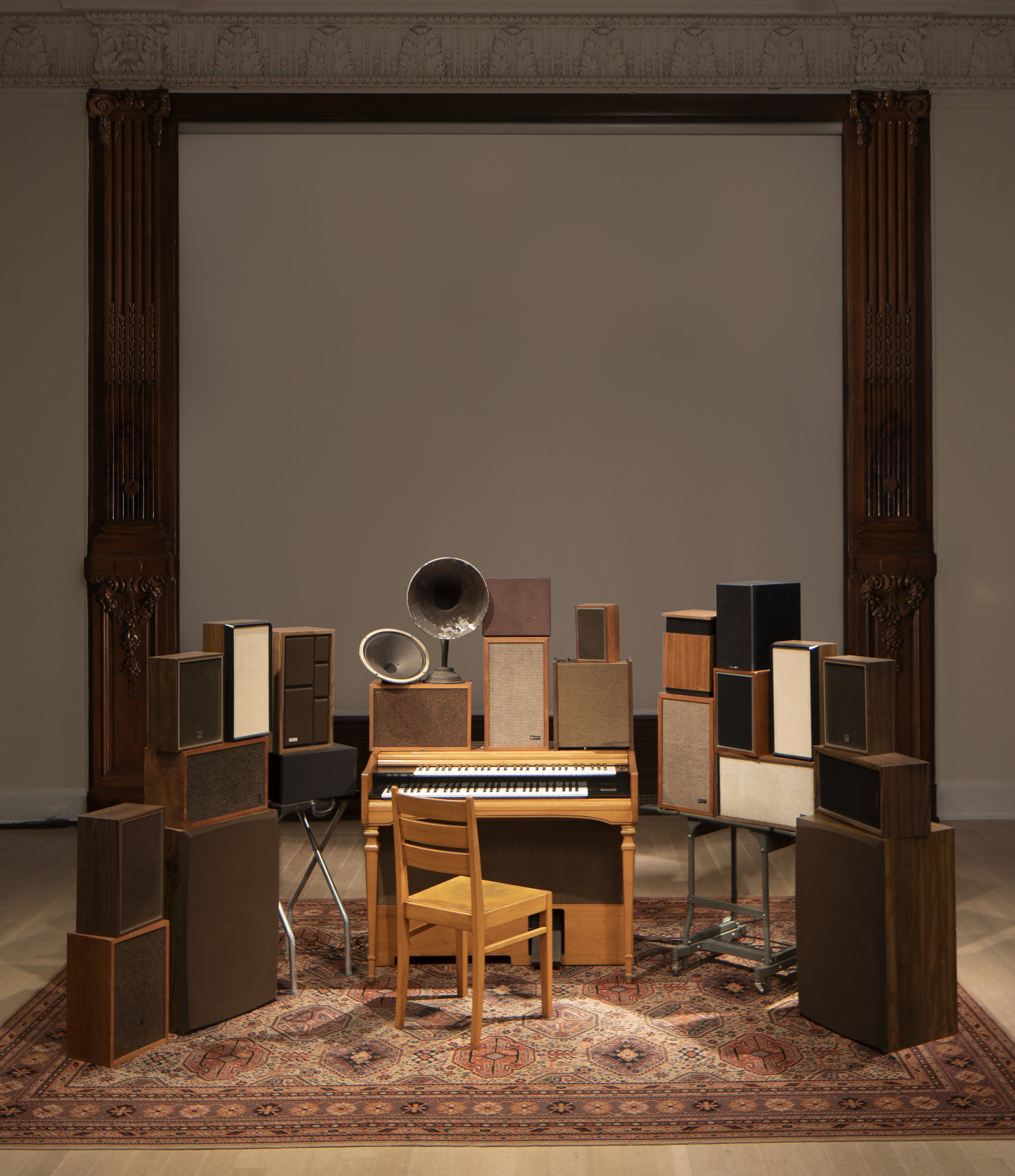 Janet Cardiff and George Bures Miller,  The Poetry Machine ,     2017. Interactive audio/mixed-media installation including organ, speakers, carpet, computer and electronics. All poetry written and performed by Leonard Cohen from  Book of Longing , published in 2006 by McClelland & Stewart. Photograph: Frederick Charles
