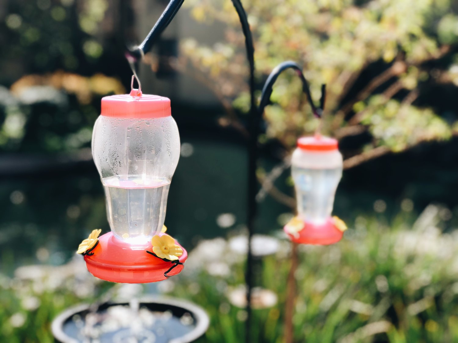 4. Feeders - I bought ours for $1 each at the dollar tree and added some perches with garden wire. To see how I did it, check out this post.