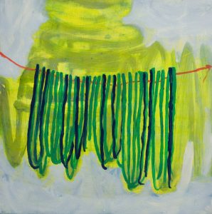 "Meg Hahn,  On a String , 2016, oil on panel, 12""x12"""