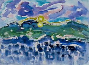 Manana at Sunset , watercolor acrylic, 2010