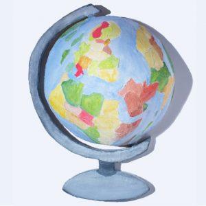 Barbara Sullivan,  Earth Pigment Globe , 2014, Shaped Fresco, 12″ x 16″ x 7″