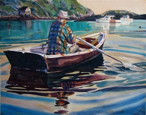 Michael Vermette's  Monhegan Lobsterman Rowing  Courtesy The Monhegan Museum