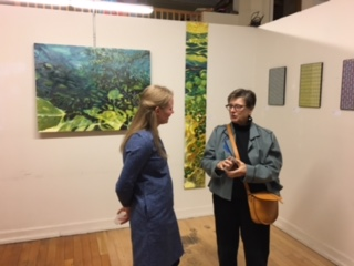 Artist Victoria Statsenko (left) and Monhegan Artists' Residency board president Susan Danly (right)