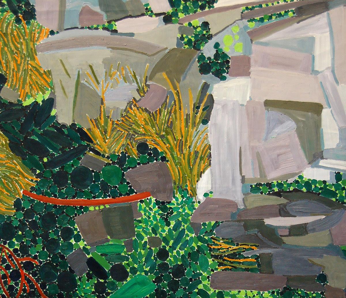 "Lynn Drexler,  Rocks , 1979, 34""x37"", oil on canvas. Courtesy of Elizabeth Moss Galleries."